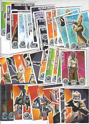 TOPPS Force Attax STAR WARS trading cards blueback 38different cards inc 2silver