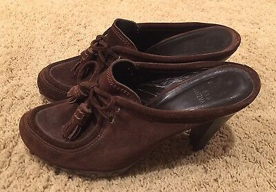 Woman's Stuart Weitzman Brown Leather Slip-on Heel Mules Size 7.5 - EUC