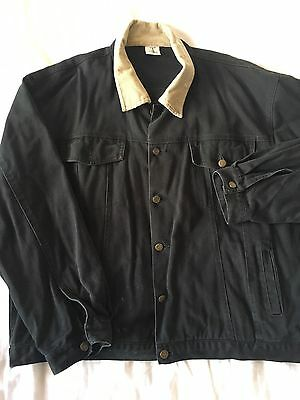 Black denim vintage retro jacket unisex 100% cotton denim