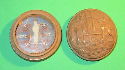 Antique Multi Relics (2) Wooden Theca Ihs Lid With St Joseph Miniature Statue