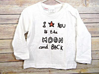 ZARA Baby White To the Moon and Back Long Sleeve T-Shirt New 12-18 Months