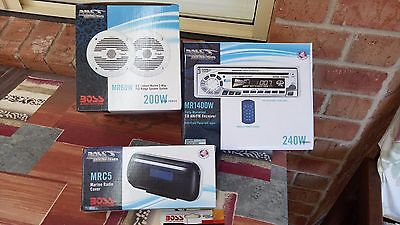 Complete marine stereo with speakers and weather proof case
