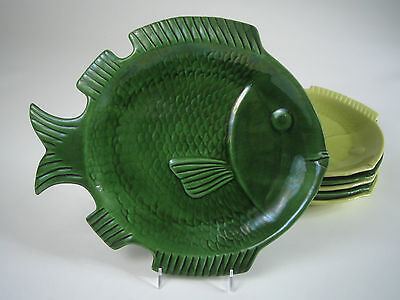 1950s Vintage CEMAR California POTTERY Green & Chartreuse FISH PLATES Set of 6 !