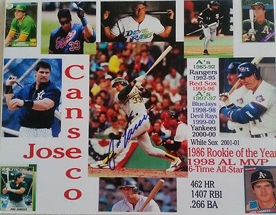 JOSE CANSECO SIGNED 8 X 10 INCH PHOTO BASEBALL OAKLAND A's YANKEES RED SOX COA