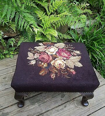 ~Antique Vintage Shabby Roses Chic Needlepoint Foot stool Foot Rest~ESTATE~