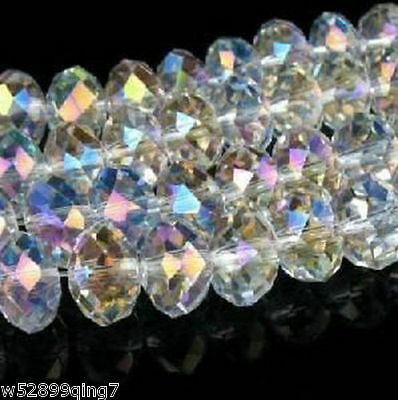 Diy Jewelry 598pc Faceted Rondelle glass crystal 3x4mm Beads White AB
