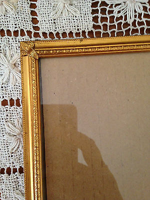 Vintage Bead Edge Floral Cartouche Design Solid Brass Picture Frame 8 X 10
