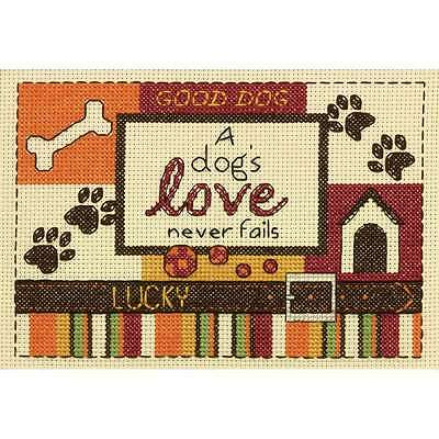 """A Dog's Love Mini Counted Cross Stitch Kit 5""""X7"""" 14 Count 088677651244"""