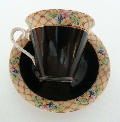 N & C Japan Black with Gold Accents Floral Band Border Teacup & Saucer