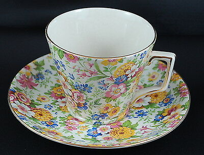 Vintage & Rare Lord Nelson Ware 1930's Marigold Chintz #2122 Teacup & Saucer