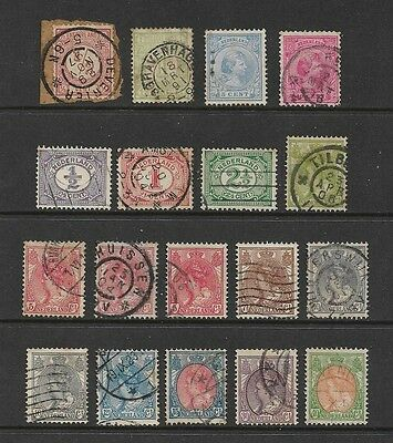 NETHERLANDS - mixed early collection, 1876-1898, postmark interest