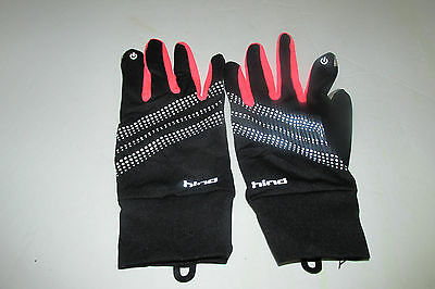 Hind Ignition Running Gloves Black And Pink Reflective L/XL