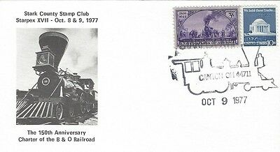 1977 The 150'th Ann. of the Charter of the B&O Railroad FDC with STARPEX cachet
