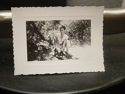 Vtg Photo Shirtless Handsome Young Man in Swimsuit w Dog Gay Int