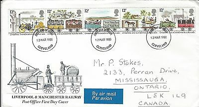 1980 UK - 150'th Anniversary of the Liverpool & Manchester Railway FDC to Canada