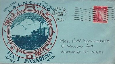 1943 First Day of Launching USS Pasadena - Cleveland Class Light Cruiser cover