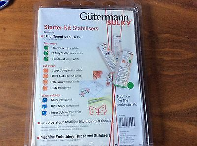 Fabric Stabilizers   Gutermann Sulky Starter Kit  X 10 Different Stabilizers