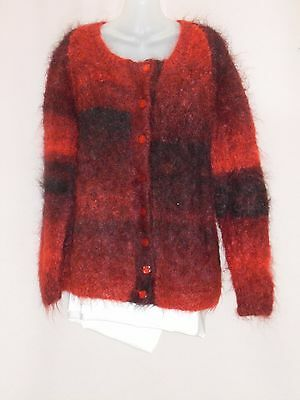 1960's Vintage Hand Knitted Crew Neck Mohair Cardigan.