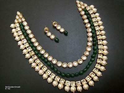 Indian Traditional Kundan Gold Tone Emerald Beads Wedding Necklace Jewelry Set