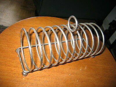 Antique Silver Plate Large 10 Piece Toast Rack With 4 Round Legs
