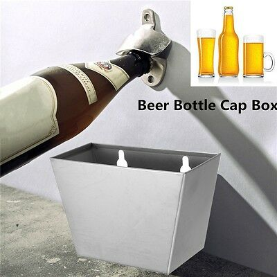 Stainless Wall Mounted Bar Beer Bottle Opener Cap Catcher Box + Opener + Screws
