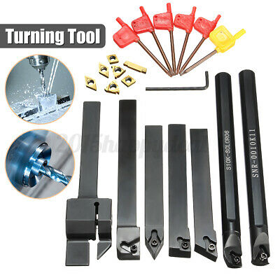 7 Set 10mm Shank Lathe Turning Tool Holder Boring Bar + Carbide Insert Kits New