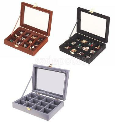 Glass Top 12 Slots Necklace Ring Cufflinks Jewelry Display Storage Box Case  Gift