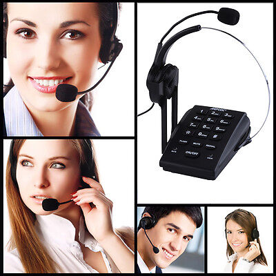 Call Center Dialpad Monaural Corded Headset Headphone Telephone  With REDIAL