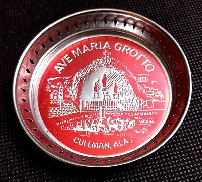 Vintage Ave Maria Grotto Cullman Alabama Souvenir Glass Bottom Metal Coaster Red