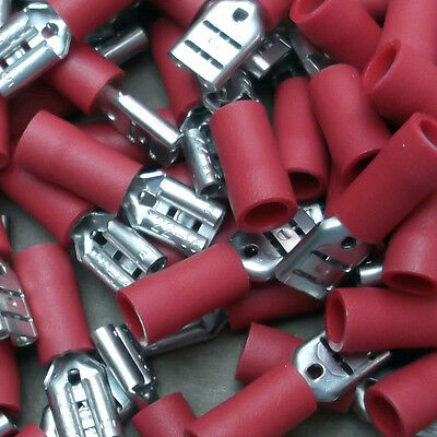 Red Crimp 4.8 mm Faston F5 Female Part Insulated x 90pcs New