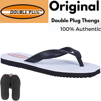 Original DOUBLE PLUG Flip Flops Thongs Mens Sandals Shoes Slippers Plugger