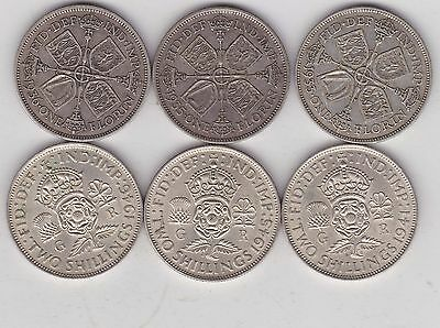 6 George V & Vi 50% Silver Florins 1933/1935/1936/1941/1945 & 1946 In Very Fine