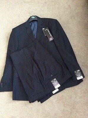 Mens NEW Dark Grey Striped ( George) Suit . Trousers 42/31, Jacket 46 Chest