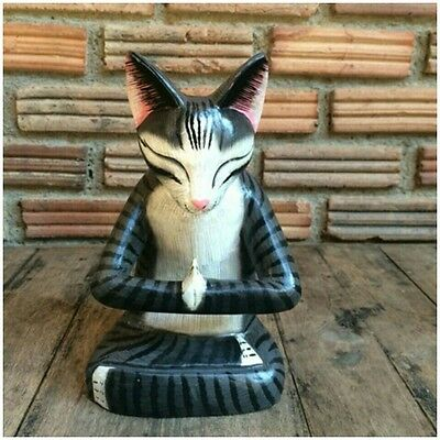 Wood Cat Sculpture Statuette Yoga Hand Carved  /The gray cat Striped
