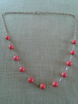 Retro Vintage Salmon Pink Glass Beads Wire Necklace