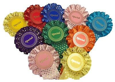 *Special*  Rosettes - Pack 10 - Gold Spotted Mixed Colours - Can be Personalised