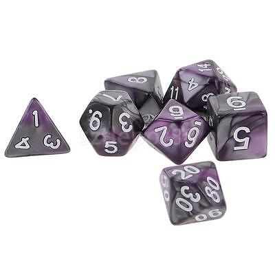 7X Polyhedral Dice Double-Colors Dice for Dungeons and Dragons Purple Silver