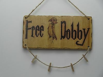 Free Dobby With Pegs For Socks  Hand Made Hanging Wooden Sign Harry Potter