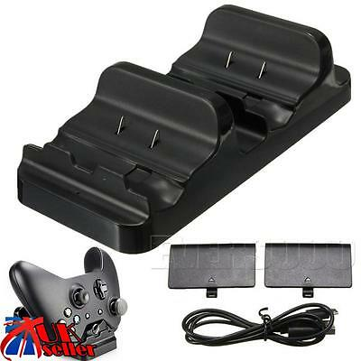 Dual Charging Dock Controllers Charger 2x Rechargeable Batteries For Xbox One