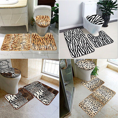 3 Piece Bath & Pedestal Mat Toilet Set Non Slip Machine Washable Bathmat Set Uk
