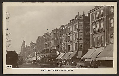 London N7. Tram in Holloway Road, Islington. Liptons Tea. Vintage R.P Postcard