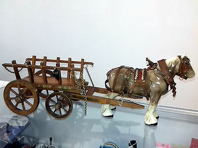LARGE SHIRE HORSE WITH WOODEN CART for restoration CHARITY LISTING L@@k!