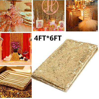 4x6FT Sparkly Champagne Gold Sequin Table Cloth Backdrop Wedding Party Decor AU