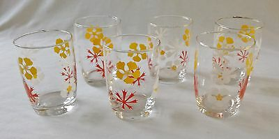 Lovely Set Of 6 Vintage C1960's Patterned Drinking Glass Tumblers / Glasses