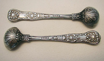 LARGE PAIR QUEENS Solid Silver English Kings Salt/Mustard Pot/Condiment Spoons