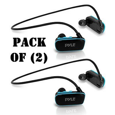 Pack of 2) Pyle PSWP14BK Flextreme Waterproof MP3 Player, Headphones, 8GB Memory