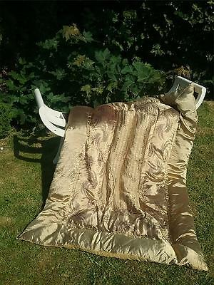 Vtg Antique Satinised Single Feather Eiderdown Quilt Decorative Embroidery Clean