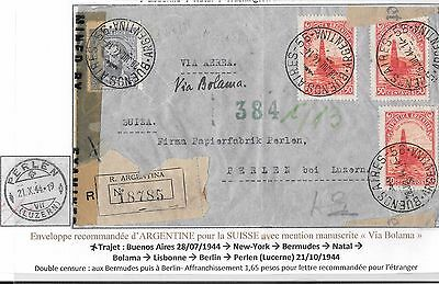 ARGENTINA Registered Airmail Cover 1944 to SWITZERLAND via Bolama LATI censor