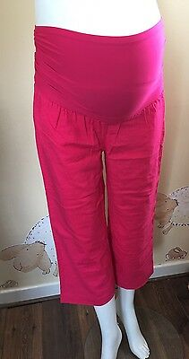 (B1204B) Maternity Cropped Trousers Size 10/12 Linen Mix Pants 3/4 Length