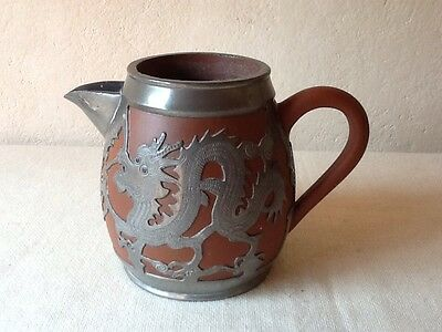 Chinese Yixing Pottery Pewter Cased Dragon Design Jug